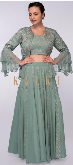 Featuring tiffany blue georgette lehenga with gotta lace work in alternate kali. Paired with a matching georgette blouse with gotta lace embroidery Jacket Lehenga, Lehenga Skirt, Blue Lehenga, Lehenga Blouse, Jacket Style Kurti, Peplum Jacket, Peplum Blouse, Designer Party Wear Dresses, Kurti Designs Party Wear