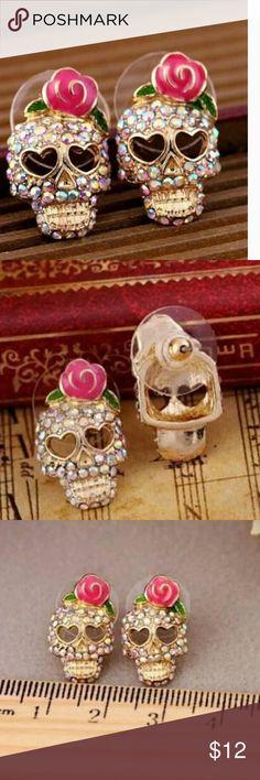 Crystal Skull Earrings NW Brand New zdazzled Jewelry Earrings