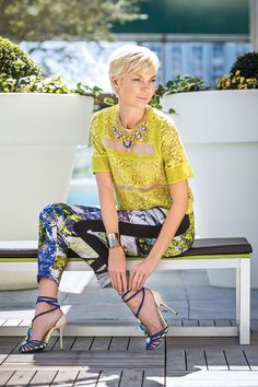 From Day to Play - Orlando Magazine - April 2014 - Orlando, FL  Running around town is simple in two stylish pieces. Rebecca Taylor top, $350; Clover Canyon pant, $214; Sophia Webster heel, $695, from Neiman Marcus, The Mall at Millenia. Necklace, $108, from Tuni, Winter Park.
