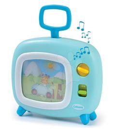 SMOBY kojenecký farebný televízor Cotoons pre deti. Prehráva obrázky, sprevádzané jemnou melódiou. Jednoducho sa ovláda. S rúčkou na ľahké nosenie. Vhodný pre deti od 6 mesiacov.