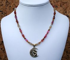 Moon Gazing Hare Necklace with Faceted Mixed Agate and Bronze Lisa Parker Pendant