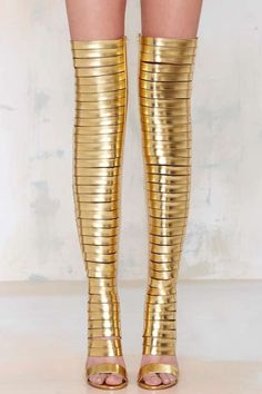 These Jeffrey Campbell Thigh-High Boots are Inspired by Armor #shoes trendhunter.com