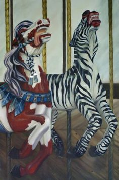 Golden Gate Exotic Carousel Painting by Katrina Majkut