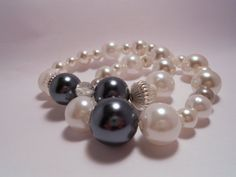 Handmade OOAK Faux Pearl and Charcoal Grey Stretch by ChandiniGems, $15.27