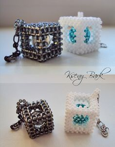 Balls in cubes. Bead Crochet Patterns, Beading Patterns, Beading Projects, Beading Tutorials, Bead Jewellery, Beaded Jewelry, Jewelry Box, Beaded Boxes, Beaded Crafts
