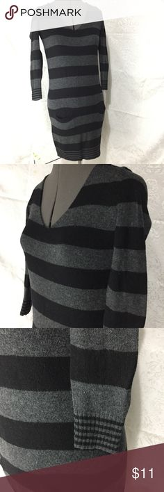 black and grey striped sweater dress black and grey striped sweater dress, thin stripes at knee and cuffs, two pockets on front at hip Express Dresses Long Sleeve