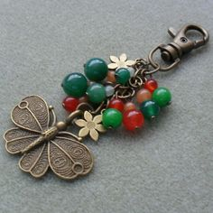 Semi Precious Gemstone Bag Charm With Butterfly and Flower Charms £8.00