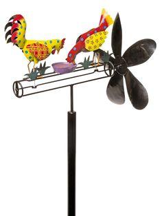 Whirligig: Calico Chicken Whirligig   Kinetic Garden Art