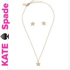 """NWT Kate Spade Twinkle, Twinkle Collection Set Kate Spade Twinkle, Twinkle Collection Set. 15-kt light plated and clear Crystala Gems.  Necklace is 15"""" w/3"""" extender, gold filled stud earring post. Beautiful sparkle!!!  Lobster claw closure. See 4th pic for all info. Boxed set!!!  Great Gift!!! kate spade Jewelry Necklaces"""