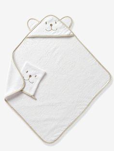 Cape de bain bébé à capuche brodée animaux - Blanc - 1