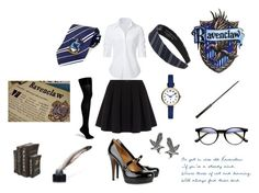 """""""Ravenclaw style"""" by looking4inspiration on Polyvore featuring Steffen Schraut, Polo Ralph Lauren, Fogal, Gucci, Marc by Marc Jacobs and Tressa"""