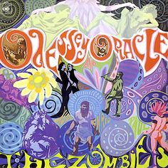 """This album art by the band, The Zombies uses psychedelic typography that's very fitting with the late 1960's counterculture vibe. The misspelling of """"odyssey"""" in the title was the result of a mistake by the designer of the LP cover, Terry Quirk. The band tried to cover this up by claiming the misspelling was intentional."""