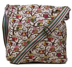 Anna Smith LYDC Oilcloth Retro Owl Print Shoulder Satchel Messenger School Bag | eBay CREAM OWL CANVAS 12,76€