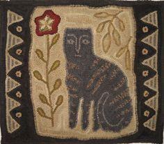 Primitive Cat Hooked Rug    maggiesfarm1846