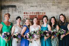 green and blue bridesmaid dresses