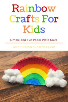 Colorful rainbow craft to make with your preschooler and toddler Easy paper plate craft to create with your home school child Painting activities for kids Hands on crafts handsoncraftsforkids preschoolactivities toddlerpainting - Spring Crafts For Kids, Easy Crafts For Kids, Crafts To Do, Art For Kids, Simple Craft Ideas, Kid Crafts, Paper Plate Crafts For Kids, Bunny Crafts, Family Crafts