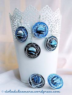 Earrings and rings made with Nespresso pods and silver  yarn