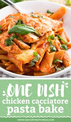 One of our favorite pasta bake recipes - no need to pre-cook the pasta! Everything comes together in one dish for this easy chicken cacciatore. Baked Pasta Recipes, Easy Chicken Recipes, Easy Dinner Recipes, Cooking Recipes, Dinner Ideas, Fast Recipes, Drink Recipes, Cacciatore Recipes, Recipes