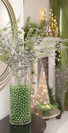 Clear glass container filled with glitter beads, sprays - any color to match your holiday decor