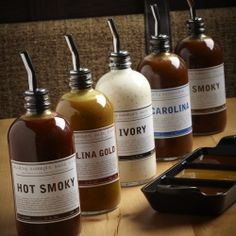 An array of regional house-made barbecue sauces at Lillie's Q (Chicago).