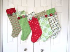 Set of 5 Patchwork Stockings -- Joy Collection