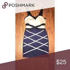 Fitted bandage dress (worn once) Crossed mauve and blue bandage dress Fashion Nova Dresses