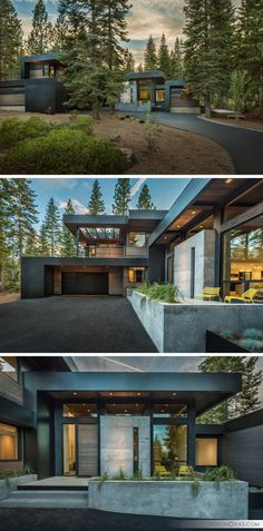 18 Modern House In The Forest // This home tucked into the forest is surrounded by trees on all sides, creating a beautiful scene no matter the season. Office houses design plans exterior design exterior design houses home architecture house design houses Forest House, California Homes, Truckee California, California Style, Modern House Design, Modern Contemporary House, Modern House Exteriors, Contemporary Architecture, Modern Wood House