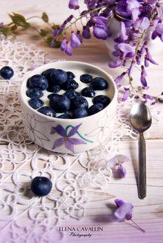 Raspberries, yogurt, breakfast, summer, food photography, violet, wisteria