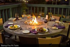 Love #dinner #outside ? Make your experience more #memorable by #eating around a #Cooke #Firepit #diningtable