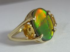 Stunning Rare Large Canadian Ammolite Triplet & Citrine 9k Gold Ring By QVC #QVC