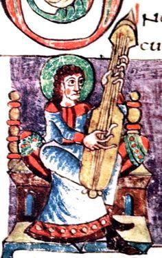 Guitar-like plucked instrument, Carolingian Psalter, 9th century manuscript, 108r part, Stuttgart Psalter - File:Citole Robert De Lisle Psalter.jpg - Wikimedia Commons