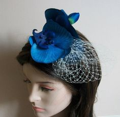 Blue Cocktail Hat Navy Blue Hat Blue Orchid hat by HettieJane