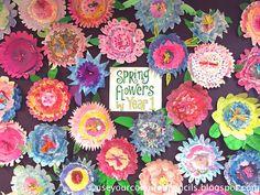 Use Your Coloured Pencils: Paper Plate Flower Collages 2nd Grade Art, Grade 3, Flower Collage, Marble Painting, Kindergarten Art, Arts Ed, Coloured Pencils, Flower Plates, Paper Plates