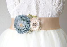Wedding Sash Belt - Teal Blue, Ivory and Cream Fabric Flowers