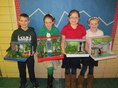 rainforest diorama, love the use of the shoeboxes