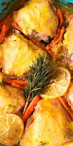 Easy chicken thigh recipe! Baked chicken thighs with carrots, citrus and spices. Delicious one pan family dinner!