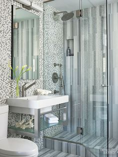Create visual contrast in a bath by using two different types of tiles.