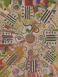 Darby Jampijinpa Ross Warlpiri / Yankirri Jukurrpa (Emu Dreaming)  1987  121.2 x 91.4 cm