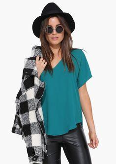 Bliss Chiffon Tee Shirt in Green | Necessary Clothing