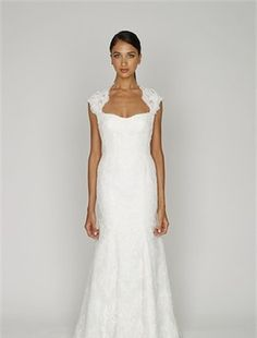 Sweetheart Sheath Wedding Dress  with Natural Waist in Alencon Lace. Bridal Gown Style Number:32407611