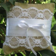 Burlap and Beaded Lace Ring Bearer Pillow.  Sweet and simple I love this pillow :)