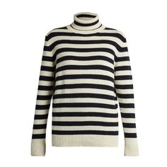 Saint Laurent Roll-neck striped cashmere sweater (13,280 CNY) ❤ liked on Polyvore featuring tops, sweaters, blue white, striped cashmere sweater, loose sweaters, stripe top, loose fitting sweaters and cashmere tops