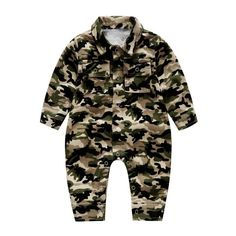 d3cd83783b2a US 23.99 - Baby Boy Girls Camo Romper Button Long Sleeve Jumpsuit For 0-24M