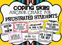 FREE: Coping Skills/Strategy Anchor Chart for Frustration. Great reminder for students on how to be successful in class. Great for Social/Emotional Learning! Elementary School Counseling, School Social Work, School Counselor, Coping Skills, Social Skills, Life Skills, Anger Management, Classroom Management, Dealing With Frustration