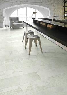 Different materials including reclaimed stone, cement, resin, marble and fossil woods are mixed together in Jumble floor tiles by Gallery Ivory Kitchen, Bathroom Renos, Bathrooms, Wall And Floor Tiles, Art And Technology, Stone Tiles, Kitchen Flooring, Decoration, Dining Bench