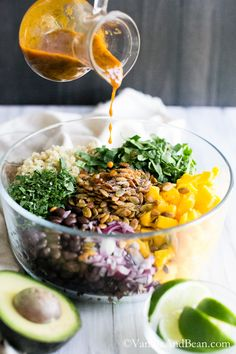 Quinoa Mango Black Bean Salad with Spiced Pepitas and Chipotle Lime Dressing | Vanilla And Bean