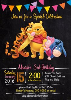 EDITABLE TEXT Winnie The Pooh Birthday Invitation Winnie The - Birthday invitation templates winnie pooh