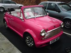 Pink Mini Convertible...Now wouldn't this be a cute way to get to work!...:O)