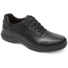 Rockport Men's City Play Two Perforated Ubal Sneakers ($75) ❤ liked on Polyvore featuring men's fashion, men's shoes, men's sneakers, black, mens black shoes, mens black leather sneakers, mens black sneakers, mens perforated shoes and mens black leather shoes