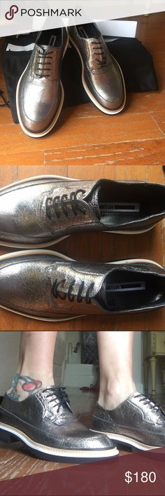Hour HPAlexander Mcqueen Metallic Oxfords Look handsome, silver leather, condition exellent,, include box and dust bag and rags Alexander McQueen Shoes Flats & Loafers